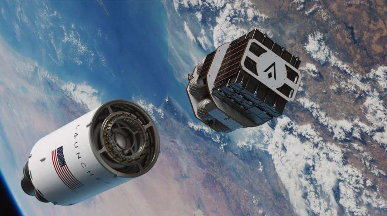 Une illustration du vaisseau spatial Launcher Orbiter peu après s'être séparé de l'étage supérieur de sa fusée Launcher Light.