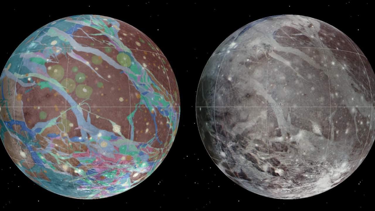 De gauche à droite : La mosaïque et les cartes géologiques de la lune de Jupiter Ganymède ont été assemblées en incorporant les meilleures images disponibles des vaisseaux spatiaux Voyager 1 et 2 de la NASA et du vaisseau spatial Galileo de la NASA.  Crédit: USGS Astrogeology Science Center/Wheaton/NASA/JPL-Caltech