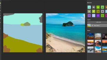 NVIDIA Canvas est l'outil qui utilise l'intelligence artificielle pour convertir cinq traits en un paysage photoréaliste