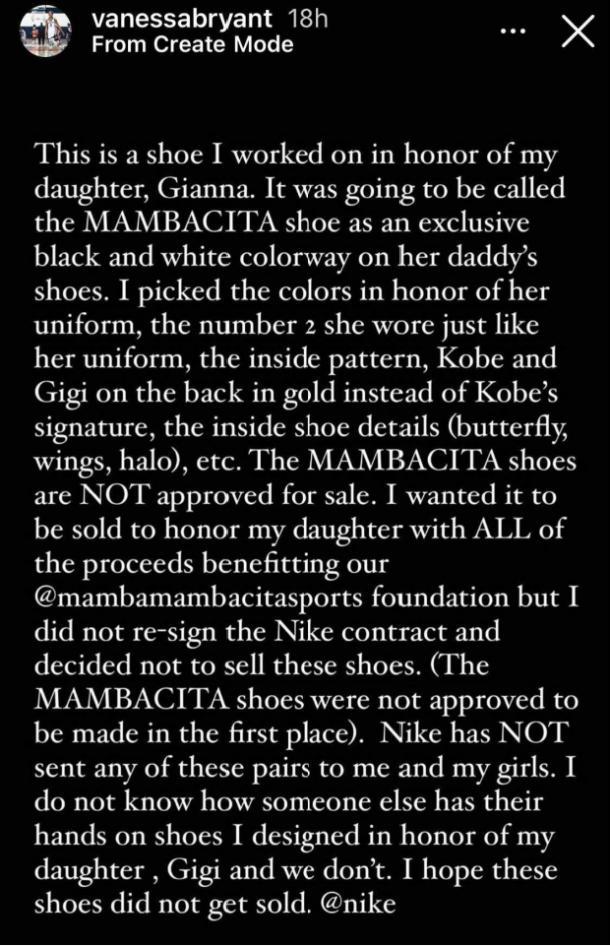 Vanessa Bryant Histoire Instagram Chaussures Nike Mambacita