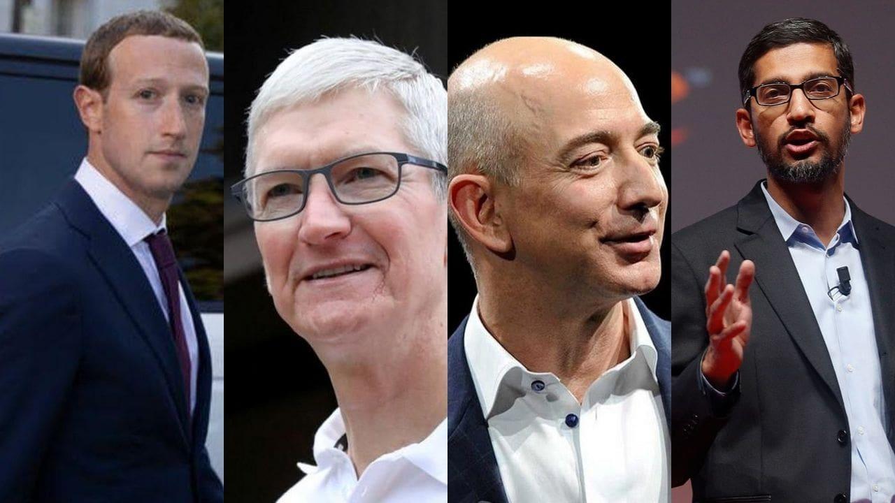 De gauche à droite, le PDG de Facebook Mark Zuckerberg, le PDG d'Apple Tim Cook, le PDG d'Amazon Jeff Bezos et le PDG de Google Sundar Pichai.