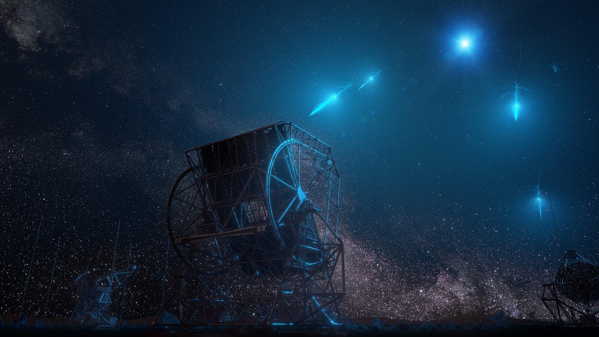 Représentation d'un artiste de photons à très haute énergie provenant d'un sursaut de rayons gamma entrant dans l'atmosphère terrestre et détectés par le système stéréoscopique à haute énergie en Namibie.