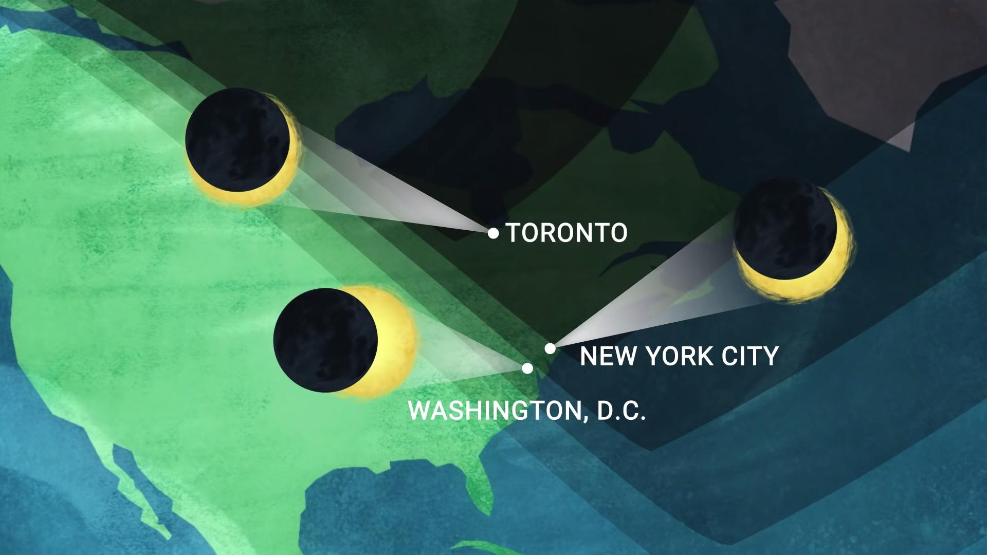 Cette carte montre comment l'éclipse solaire du 10 juin 2021 apparaîtra dans les villes de l'est des États-Unis