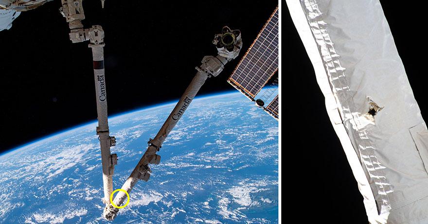 Ces images de la NASA et de l'Agence spatiale canadienne montrent l'emplacement d'une frappe de débris spatiaux sur le bras du robot Canadarm2 de la Station spatiale internationale repéré le 12 mai 2021 et diffusé le 28 mai.