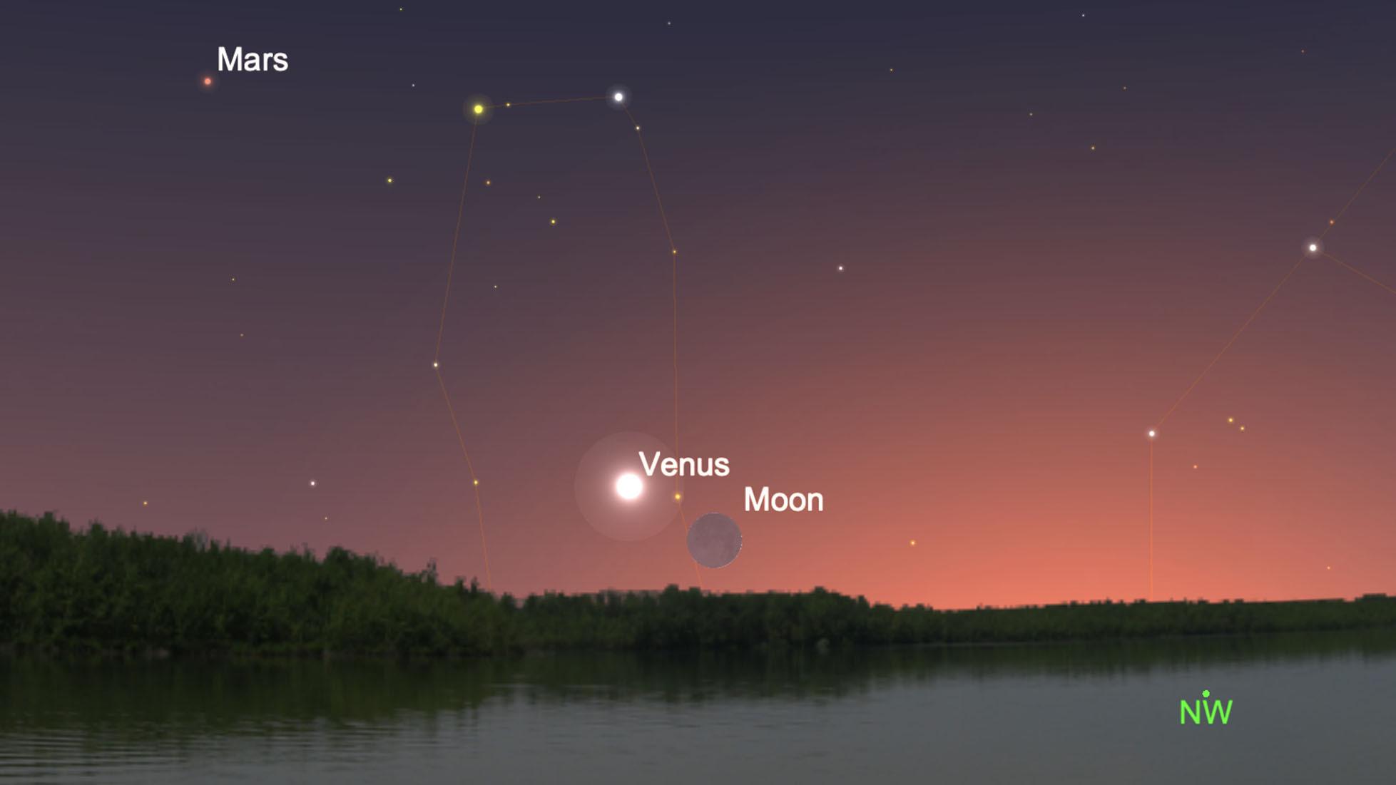 Voir le croissant de lune se balancer par Vénus le soir du 11 juin 2021.
