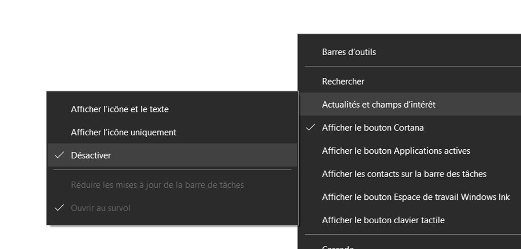 Comment désactiver les actualités et les centres d'intérêt dans la barre des tâches de Windows 10