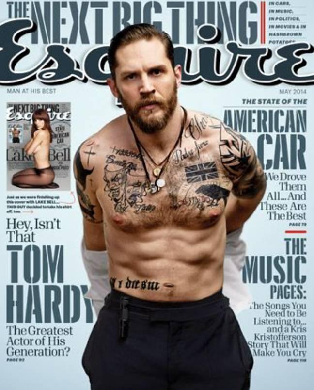 Les tatouages de Tom Hardy (Crédit: Esquire)