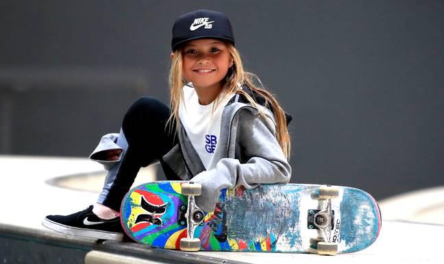 Sky Brown, 10 ans, lors de l'annonce de l'équipe Skateboard GB à la Graystone Action Academy, Manchester en 2019. (Crédit: PA)