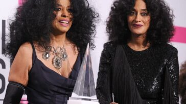 Diana Ross and Tracee Ellis Ross wearing all black while attending the American Music Awards.