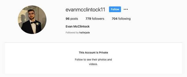 Evan McClintock fait profil bas sur les réseaux sociaux (Crédit: Instagram/@evanmcclintock11)