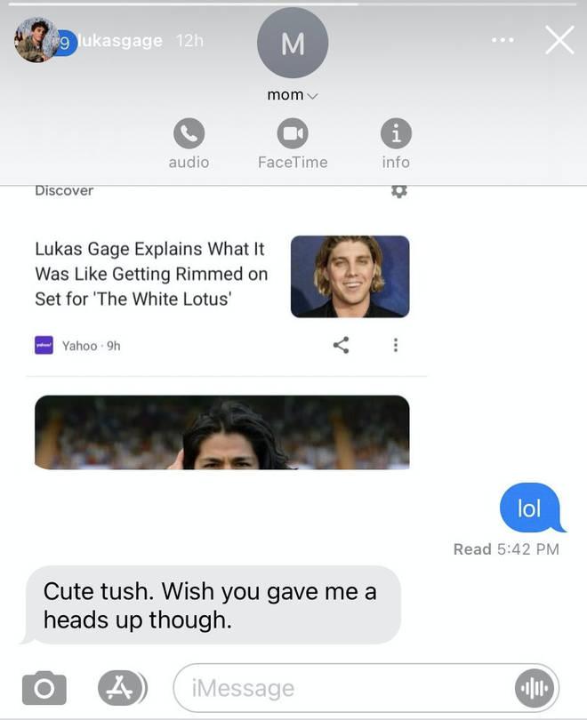 Lukas Gage partage la réaction de sa mère à sa scène NSFW dans The White Lotus