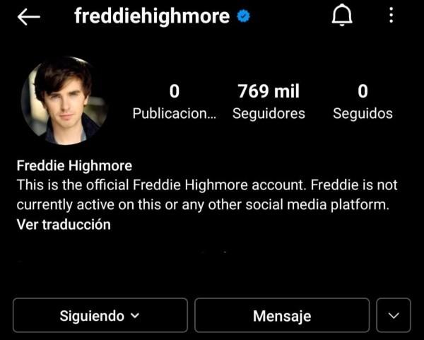 Les comptes officiels de Freddie Highmore.