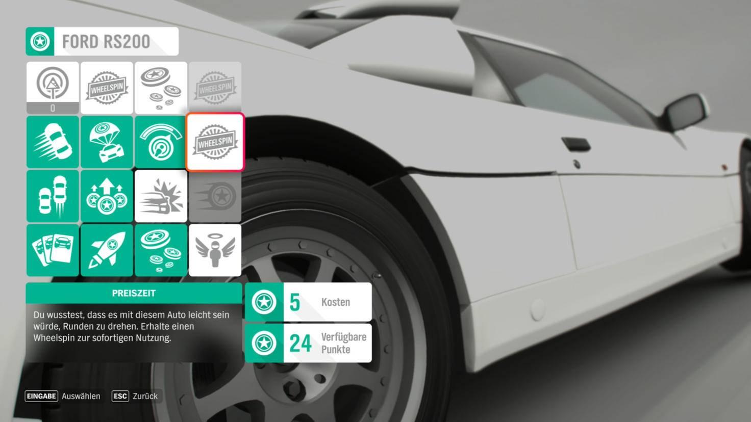 Chaque voiture a des compétences que vous pouvez débloquer avec des points de compétence.  Certains valent de l'argent réel (avec un peu de chance dans la roue de la fortune).