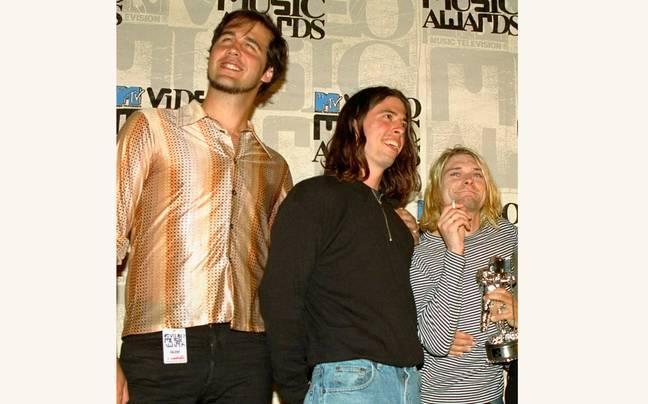 Les membres du groupe Nirvana Krist Novoselic, Dave Grohl et Kurt Cobain.  Crédit : PA