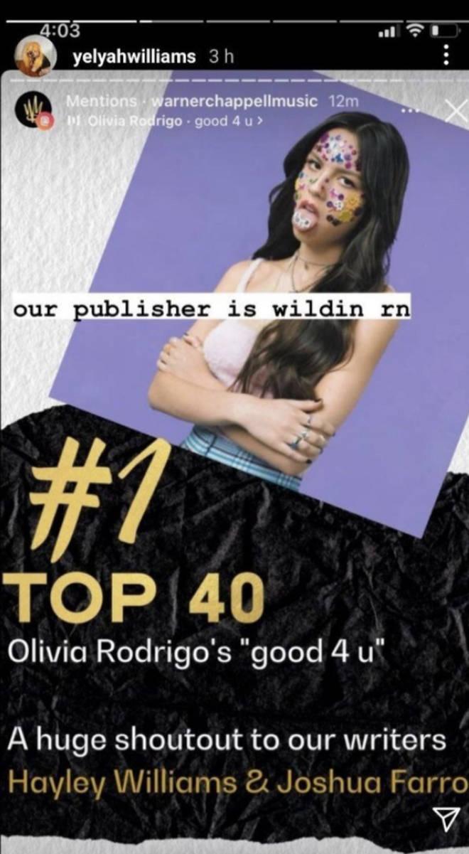 Hayley Williams répond aux crédits de la chanson d'Olivia Rodrigo Good For U