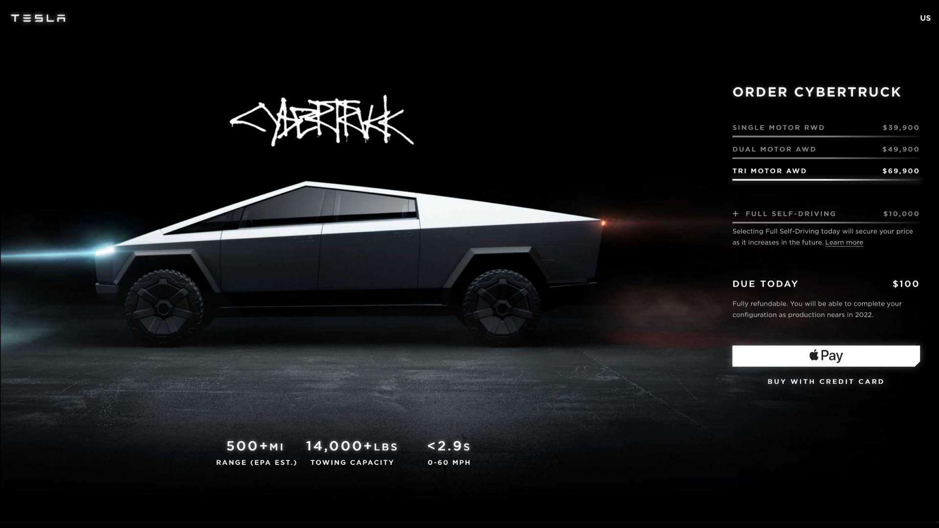 La page de commande du Cybertruck confirme qu'il n'entrera en production qu'en 2022. Image : Tesla