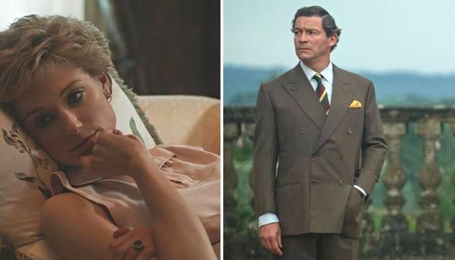 Elizabeth Debicki dans le rôle de la princesse Diana et Domonic West dans le rôle du prince Charles dans la saison cinq de The Crown.  (Crédit: Instagram/@thecrownnetflix)