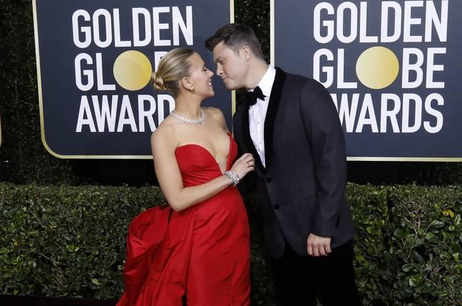 Scarlett Johansson et Colin Jost aux Golden Globes en 2021. (Crédit: PA)