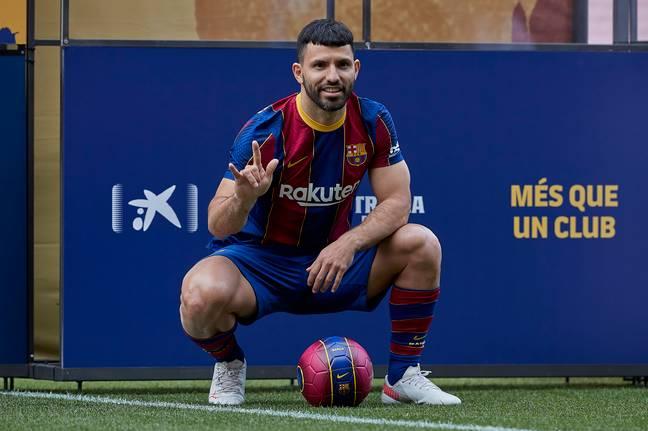 Sergio Aguero dans le maillot de Barcelone. (Crédit: PA)
