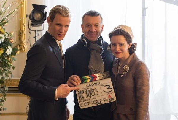 Matt Smith, Peter Morgan et Claire Foy.  Photo: (IMDB)