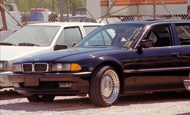 La voiture criblée de balles dans laquelle Tupac a été abattu.  Crédit : PA