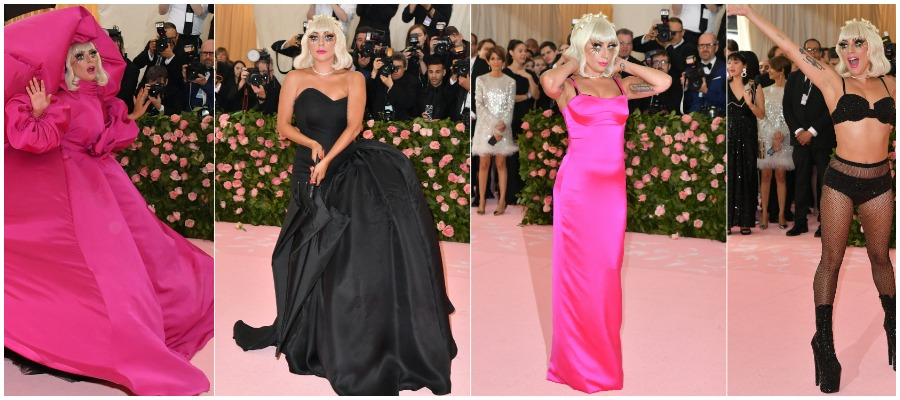 Lady Gaga affichant ses quatre looks au Met Gala 2019.