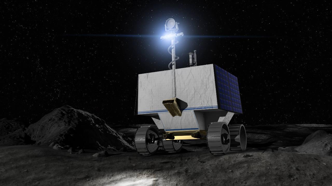 Illustration de la NASA Volatiles Investigating Polar Exploration Rover (VIPER) à la surface de la Lune Crédits: NASA Ames/Daniel Rutter
