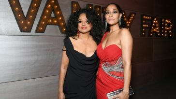 Diana Ross and Emmy nominee Tracee Ellis Ross embracing each other at the 2019 Vanity Fair party.
